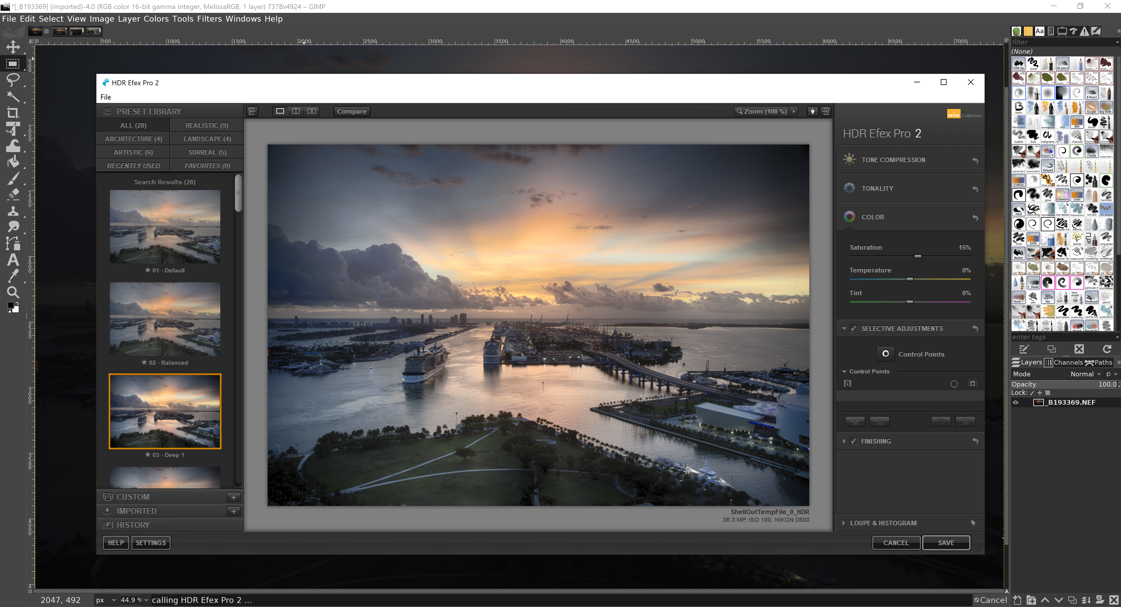 GIMP 2.10.18 with Nik Collection HDR